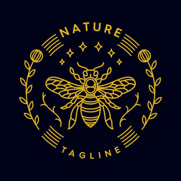 Bienenmonoline Premium Vektoren