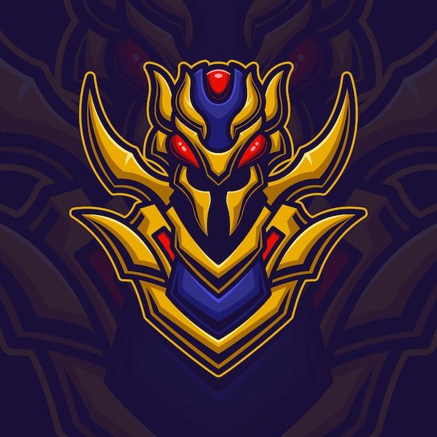 Bienenroboter monster esport logo gaming Premium Vektoren