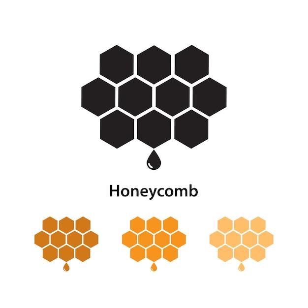 Bienenwabenikone auf weißem hintergrund mit unterschiedlichem farbsatz. Premium Vektoren