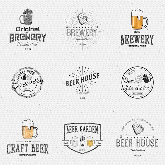 Bier abzeichen logos und etiketten für jede verwendung Premium Vektoren