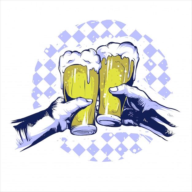 Bier-handparty Premium Vektoren