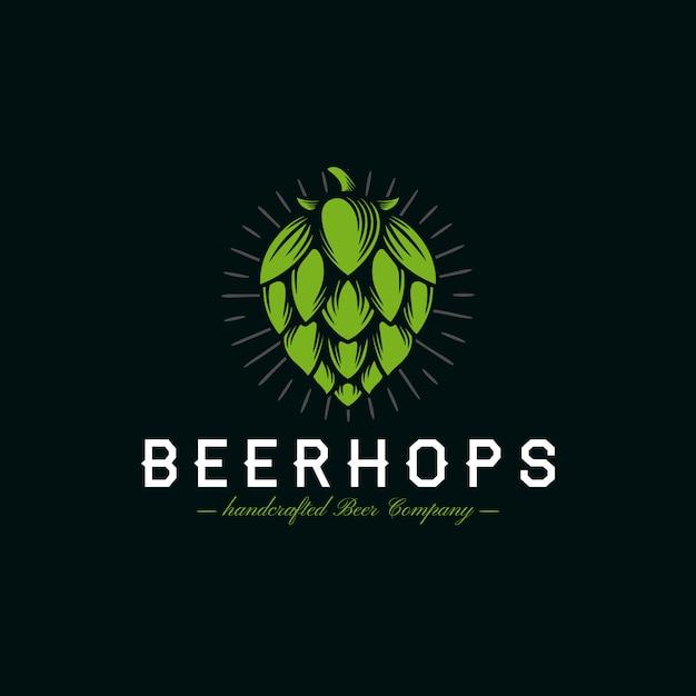 Bier hopfen wappen logo Premium Vektoren