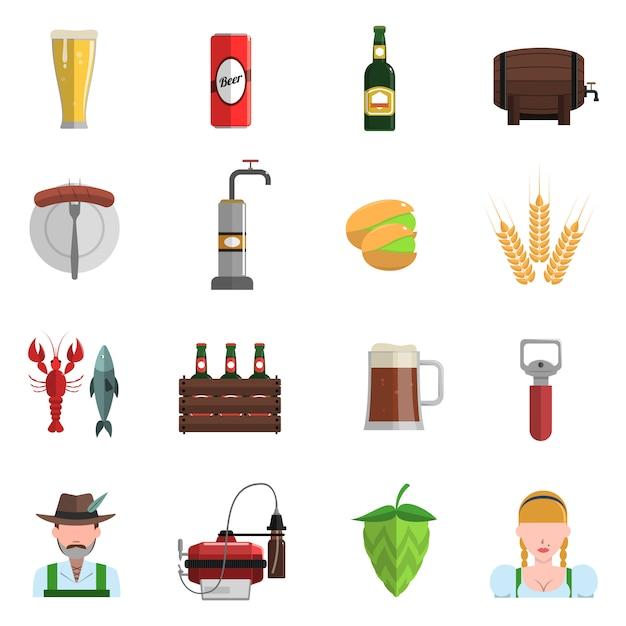 Bier icons flat set Kostenlosen Vektoren