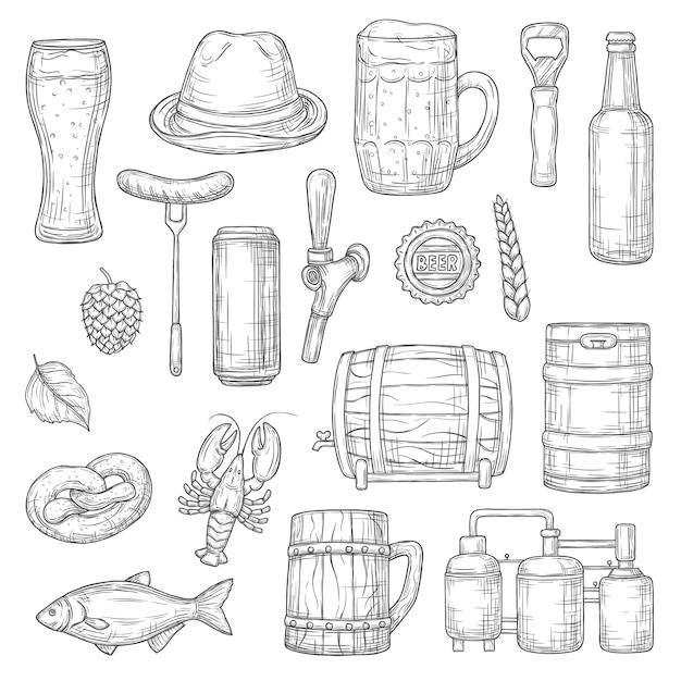 Bier isolierte skizzen. alkoholgetränk der brauerei Premium Vektoren