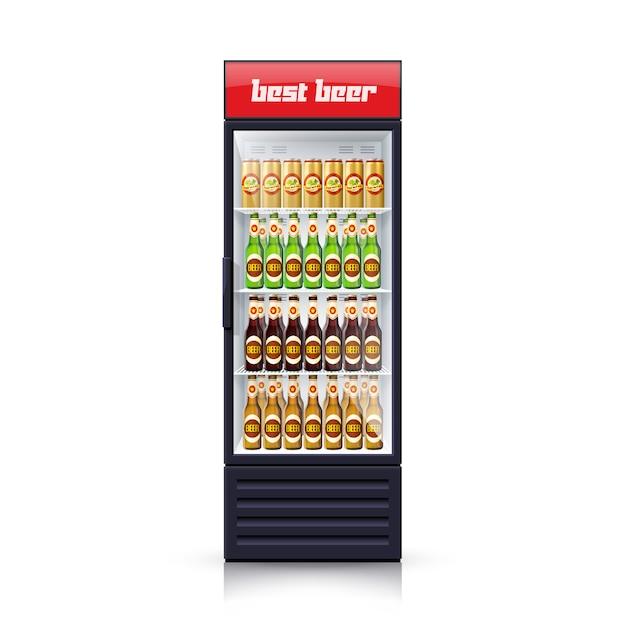 Bier-kühlschrank-spender-realistische illustrations-ikone Kostenlosen Vektoren