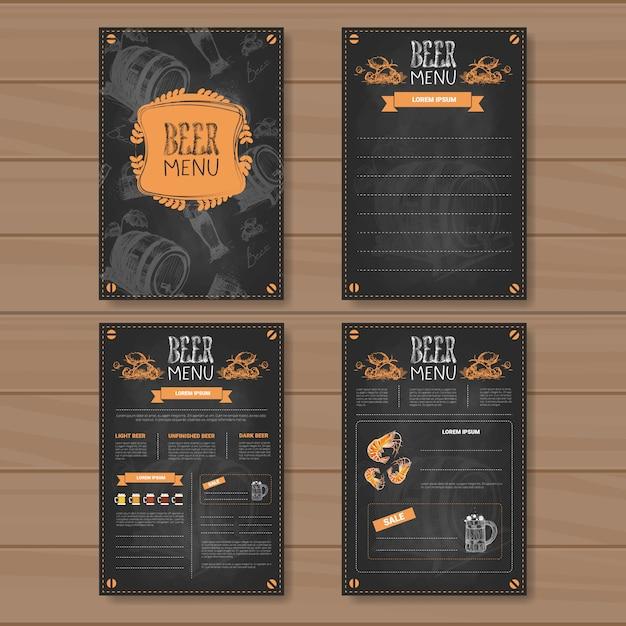 Bier-menü-bühnenbild für das restaurant-café pub chalked Premium Vektoren