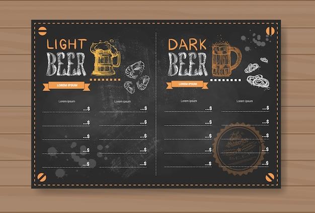 Bier-menü-design für restaurant cafe pub chalked Premium Vektoren