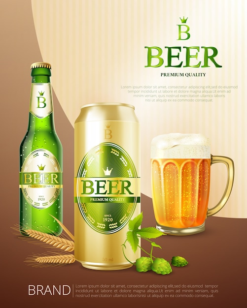 Bier metalldose poster Kostenlosen Vektoren