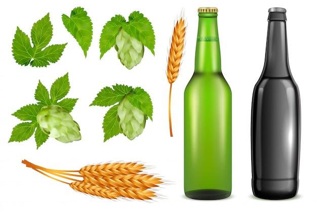 Bier-pack-icon-set. vector realistische glasbierflaschen, weizenähren, hopfenpflanzeknospen und blätter, die auf weißem hintergrund lokalisiert werden. Premium Vektoren
