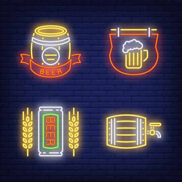 Bier pub leuchtreklame gesetzt. fass, schild Kostenlosen Vektoren