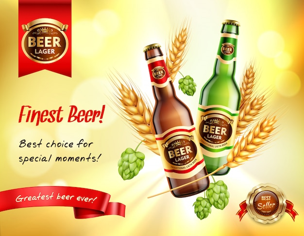 Bier realistische ad zusammensetzung Kostenlosen Vektoren