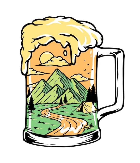 Bier trinken auf der bergillustration Premium Vektoren