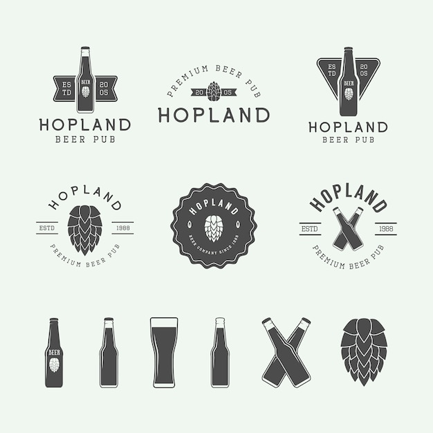 Bier- und kneipenlogos Premium Vektoren