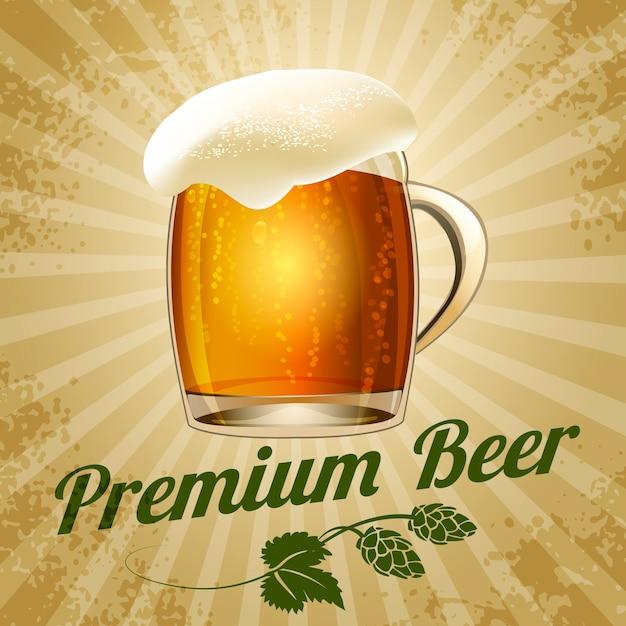 Bier vintage illustration, becher bier mit zweig hopfen im retro-stil Kostenlosen Vektoren