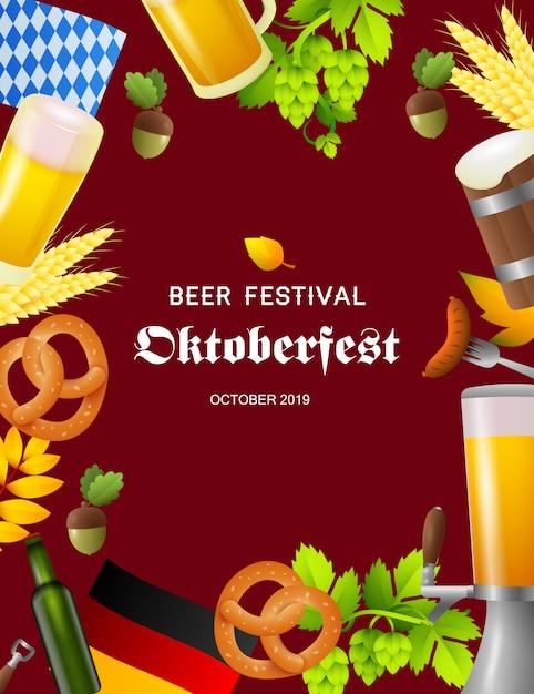 Bierfest oktoberfest-plakat mit fest-symbolen Kostenlosen Vektoren