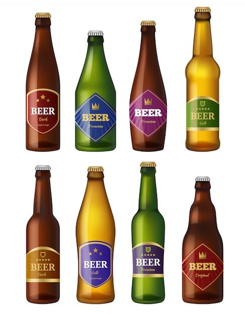 Bierflaschenetiketten, behälter für alkoholische kaltgetränke, abzeichenprojekte für schiffe, Premium Vektoren