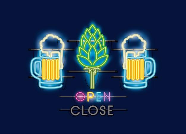 Biergläser und spitzen neonlichter Premium Vektoren