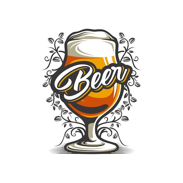 Bierglas im weißen hintergrund Premium Vektoren