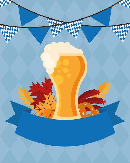 Bierglas mit bannerwimpelentwurf, oktoberfestdeutschfest und feierthema Premium Vektoren