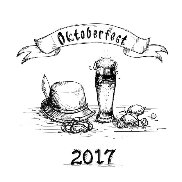 Bierglas-skizzen-becher oktoberfest festival Premium Vektoren