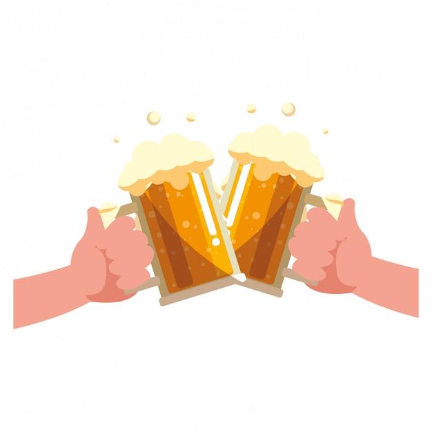 Bierkrug glas design Premium Vektoren