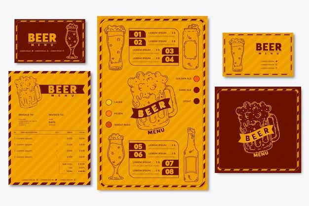 Biermenüvorlage und visitenkarte Kostenlosen Vektoren