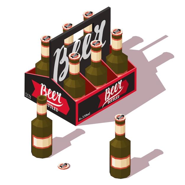 Bierpackung mit offenen und geschlossenen bierflaschen Premium Vektoren