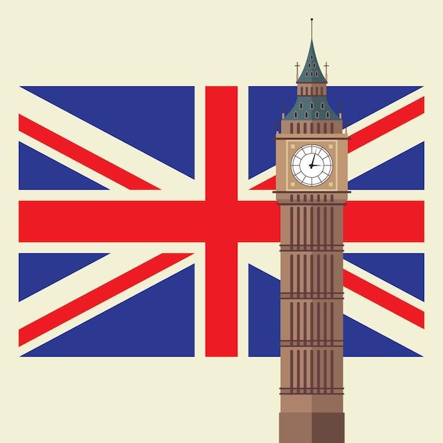 Big ben mit flagge des vereinigten königreichs Premium Vektoren