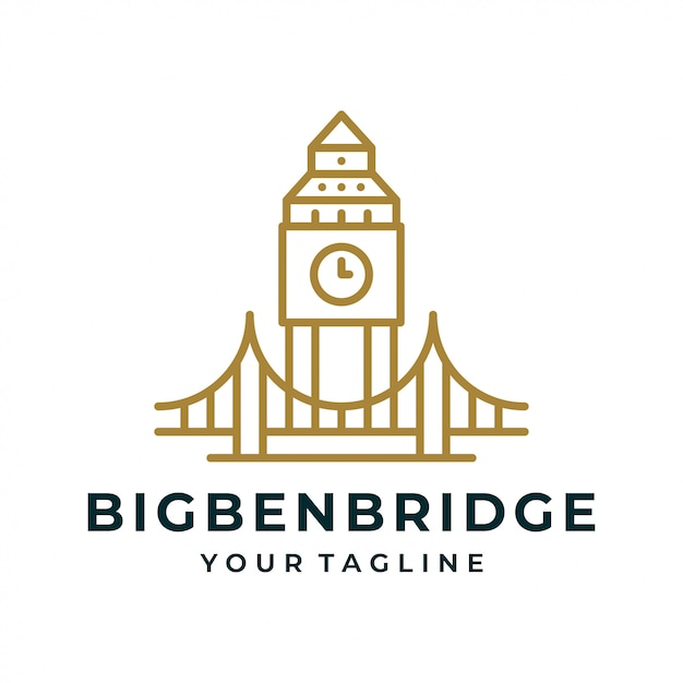 Big ben tower bridge logo und symbol. Premium Vektoren