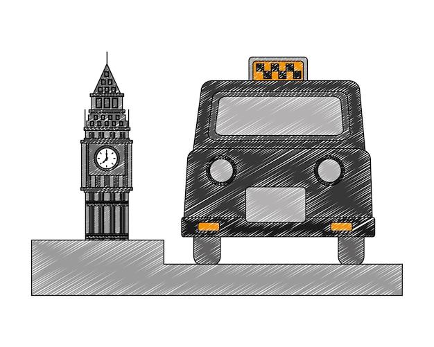 Big ben tower british mit klassischen taxi Premium Vektoren