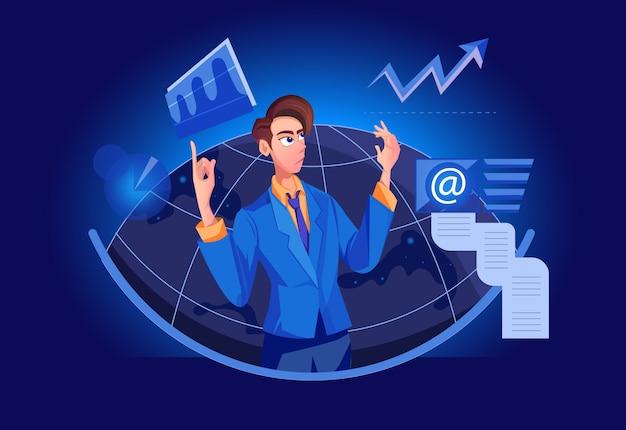 Big boss marktanalyse, management business lösung mit crm (customer relationship management) Premium Vektoren