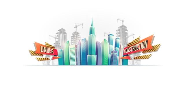 Big City Gebäude auf dem Hintergrund der Gebäude im Bau Kostenlose Vektoren