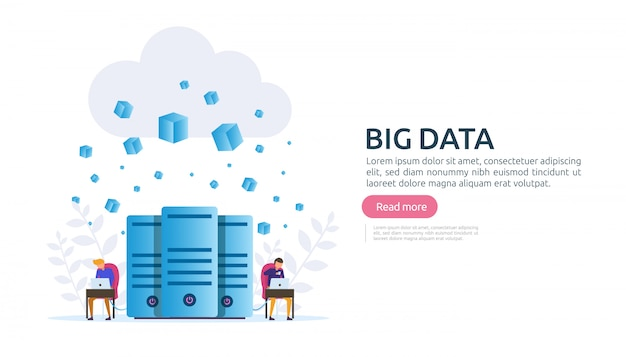 Big data cloud-datenbankanalyse-bearbeitungsservicekonzept Premium Vektoren