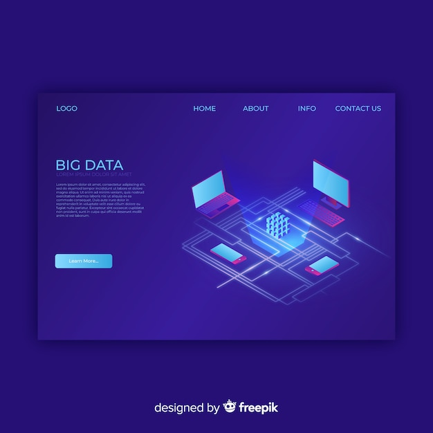 Big data landing page Kostenlosen Vektoren