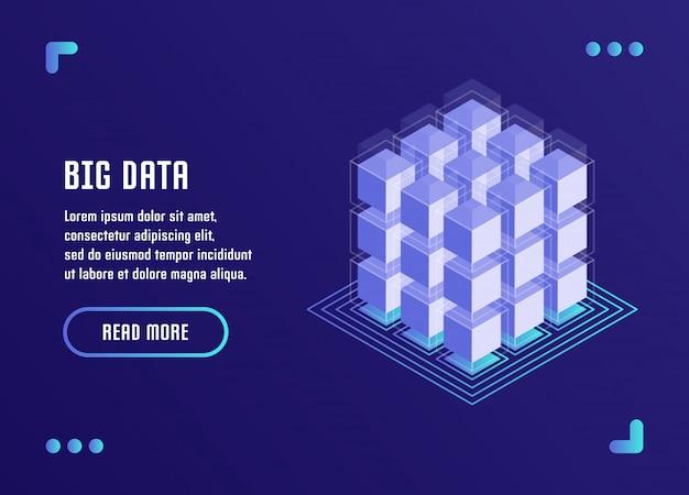 Big data processing, datenanalyse, datenspeicherung, blockchain-technologie. vektorillustration in der flachen isometrischen art 3d. Premium Vektoren