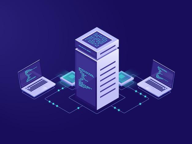 Big data processing-konzept, serverraum, zugriff auf blockchain-technologie Kostenlosen Vektoren