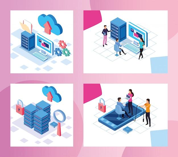 Big data-technologie mit menschen und geräten vektor-illustration design Premium Vektoren
