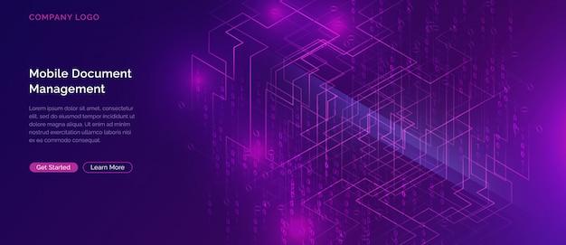 Big data wasserfall, streams von digitalem binärcode Kostenlosen Vektoren