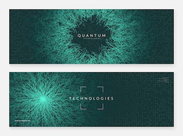 Big data-zusammenfassung. digitaltechnik-banner Premium Vektoren