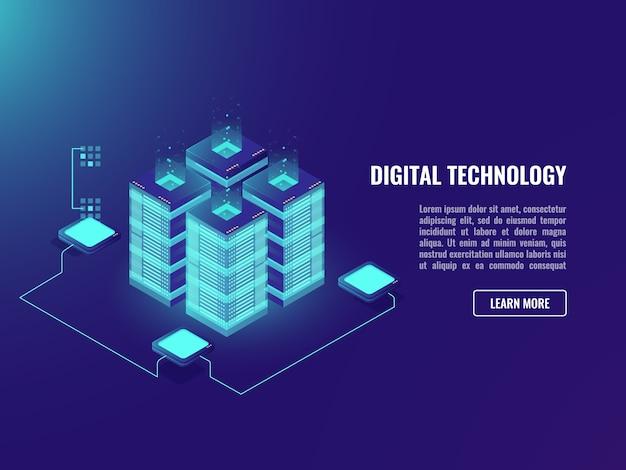 Big datacenter, verarbeitungsdatenkonzept, serverraum, wolkenspeichertechnologie Kostenlosen Vektoren