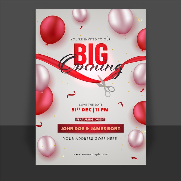 Big opening flyer oder template design mit glänzenden luftballons und event details Premium Vektoren