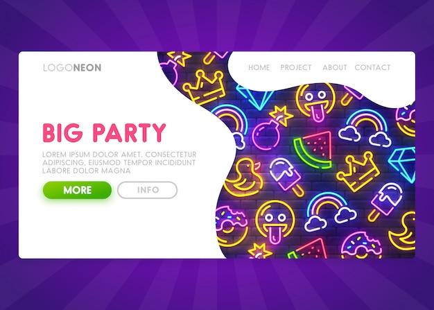 Big party landing page Premium Vektoren