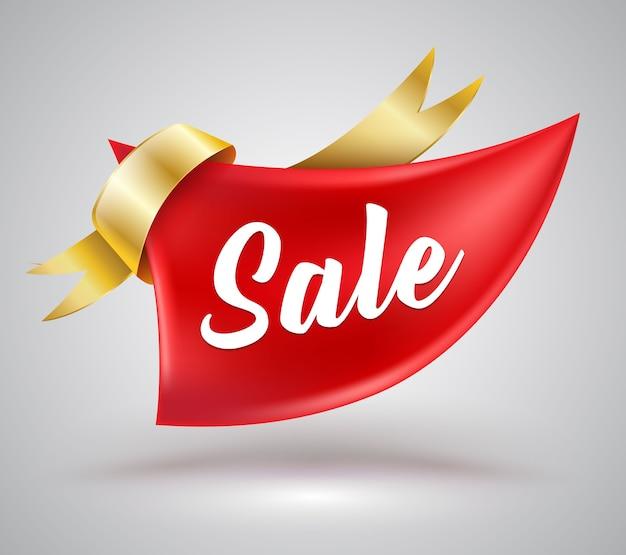 Big red ribbon zum verkauf banner für promotion-werbung. Premium Vektoren