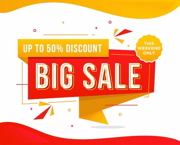 Big sale rabatt banner vorlage förderung Premium Vektoren
