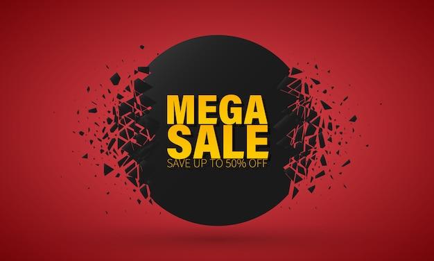 Big sale sonderangebot. banner mit explosionseffekt. Premium Vektoren