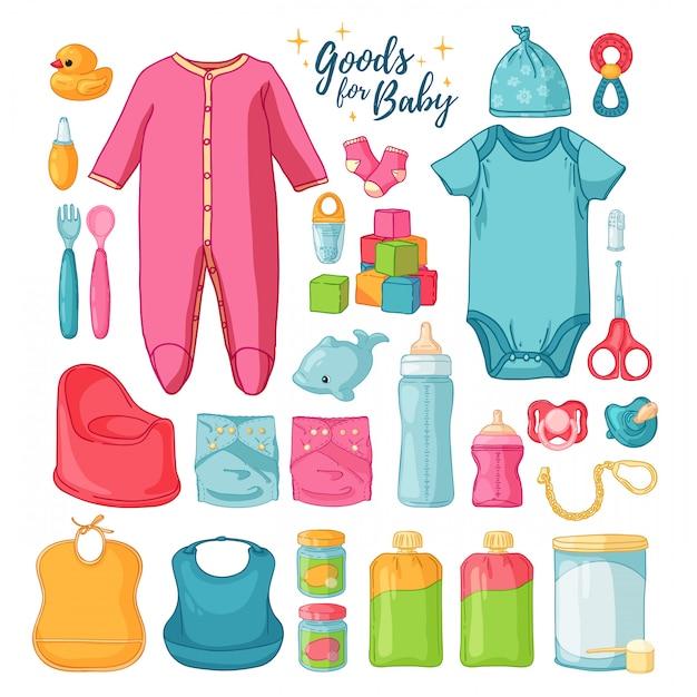 Big set baby zeug. reihe von dingen für die kindheit. isolierte symbole von babyartikeln für neugeborene. kleidung, spielzeug, hygienezubehör, säuglingsnahrung. Premium Vektoren