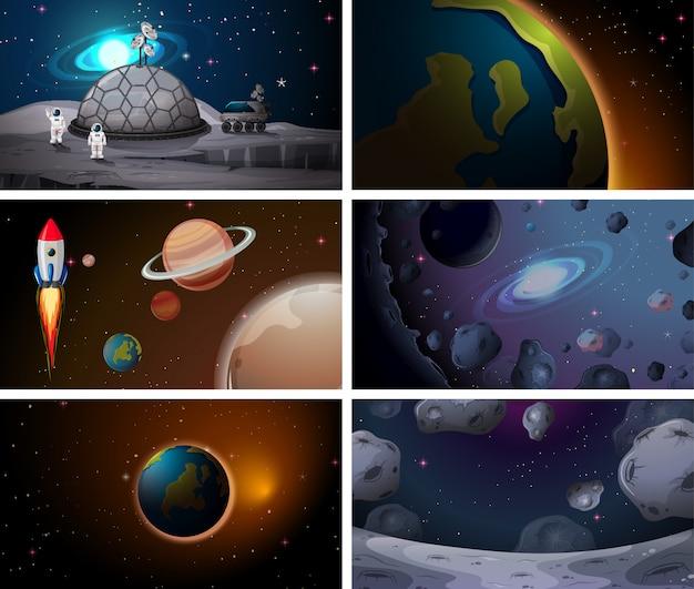 Big space scene set Kostenlosen Vektoren
