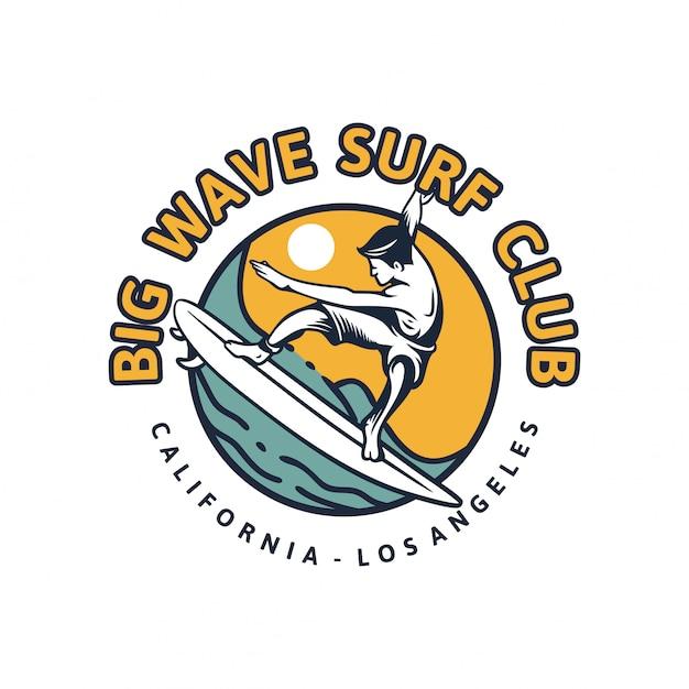 Big wave surf club. retro illustration der surfenden plakatweinlese des t-shirt entwurfs Premium Vektoren
