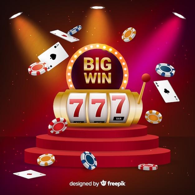 Big win slot konzept im realistischen stil Kostenlosen Vektoren