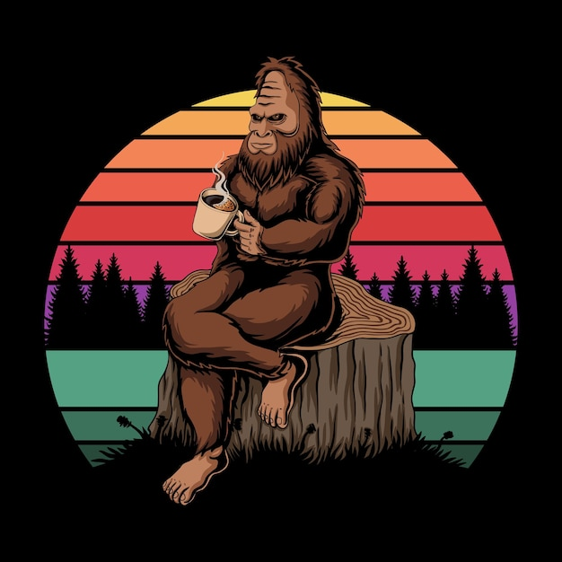 Bigfoot entspannender kaffee sonnenuntergang retro Premium Vektoren